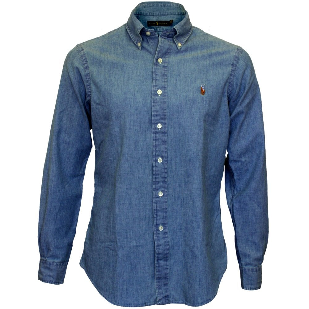 39d0c072 Polo Ralph Lauren Classic-Fit Chambray Shirt, Blue | UnderU