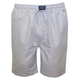 Classic Oxford Striped Woven Lounge Shorts, Blue/White