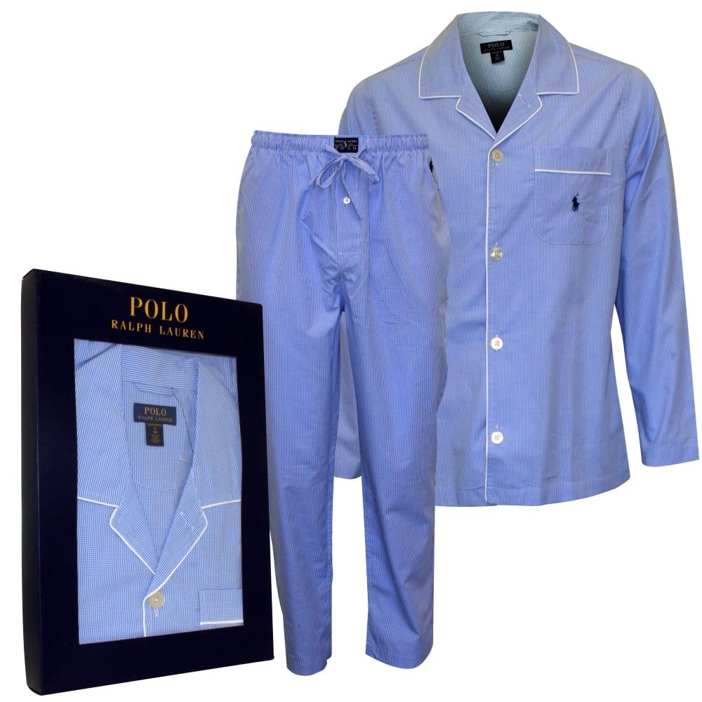 Polo Ralph Lauren Classic Woven Cotton Pyjama Set, Light Blue   UnderU 649707a38af8