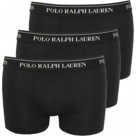 Cotton Stretch Triple Pack Boxer Trunks, Black