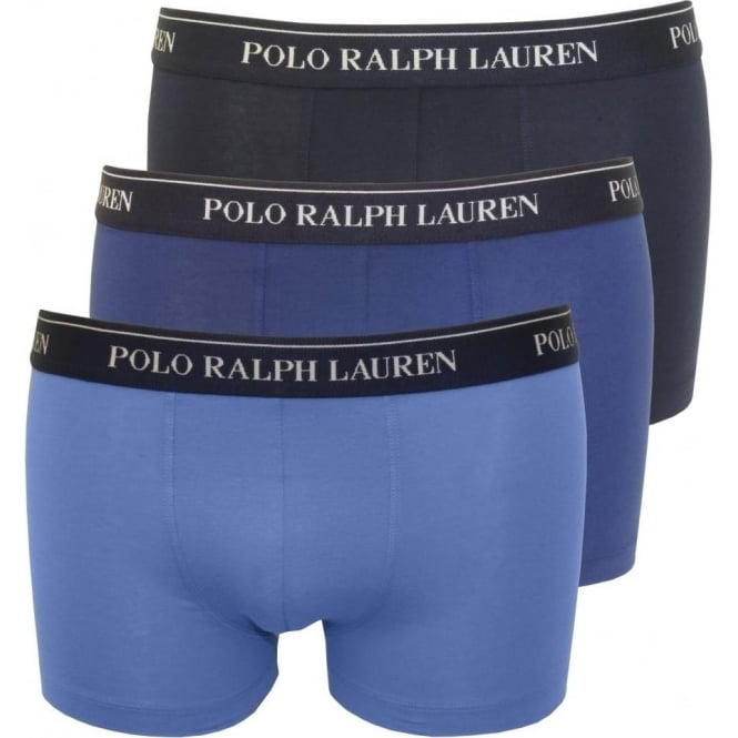 d9cd74c5fe Polo Ralph Lauren Cotton Stretch Triple Pack Boxer Trunks, The Blues ...