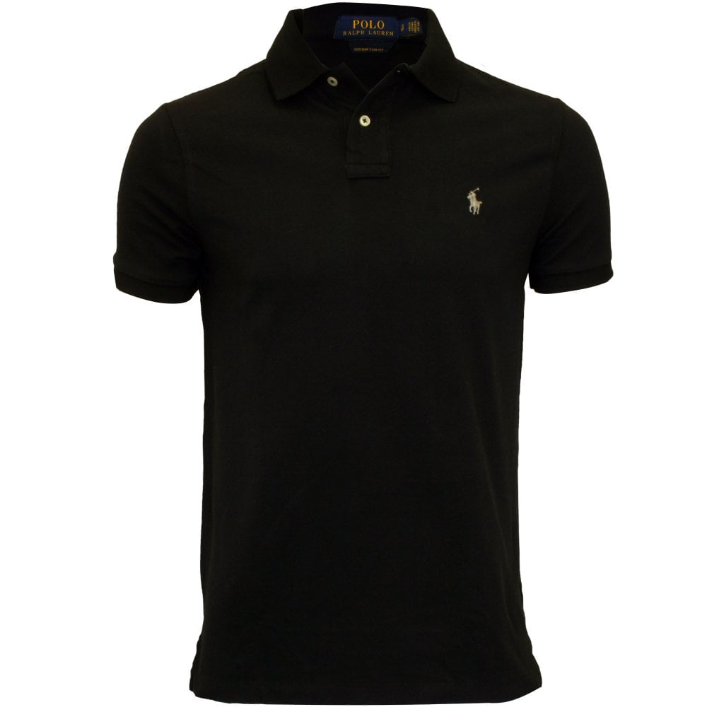 4c5a23e29 Polo Ralph Lauren Custom Slim-Fit Mesh Polo Shirt, Polo Black | UnderU