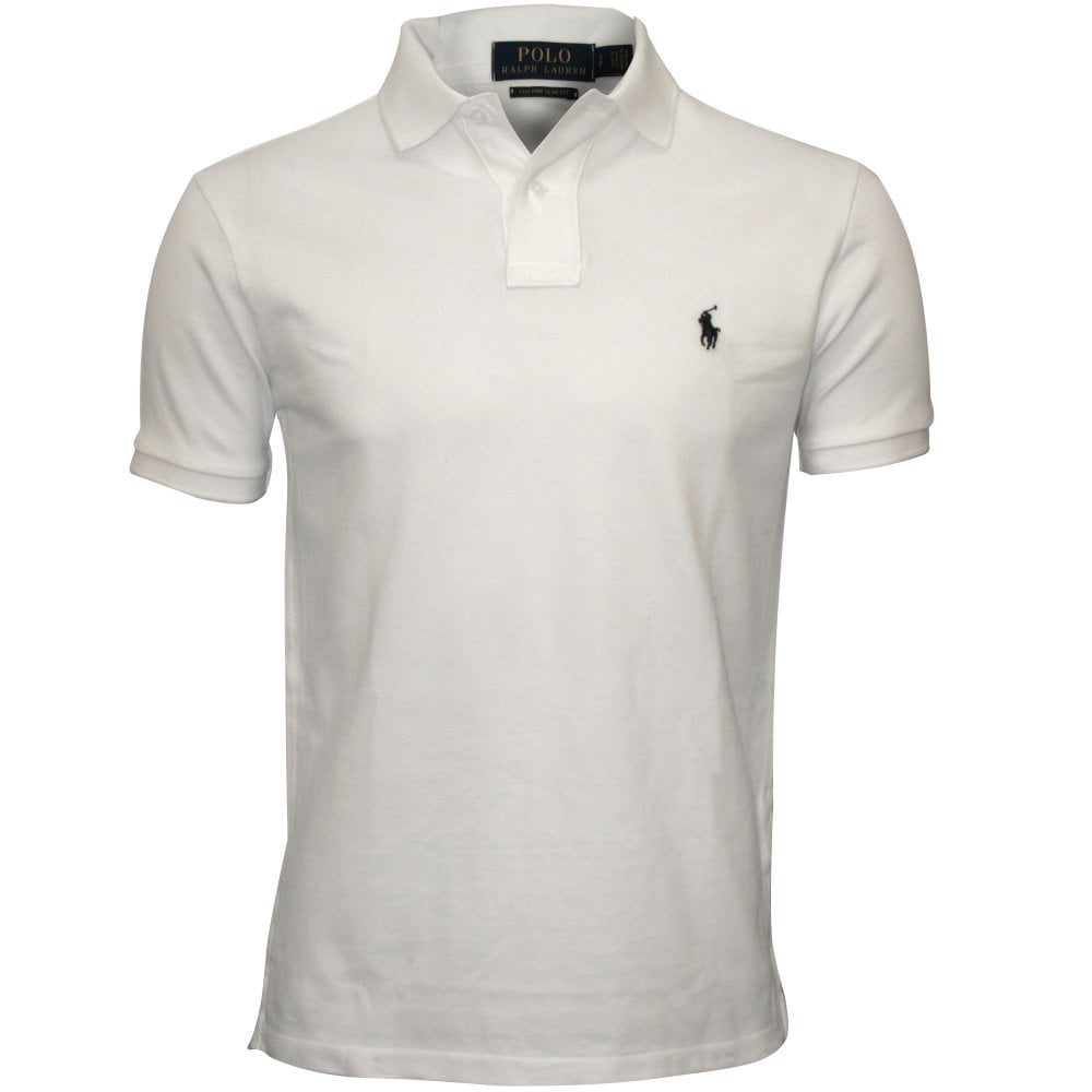 b42710986 Polo Ralph Lauren Custom Slim-Fit Mesh Polo Shirt, White | UnderU
