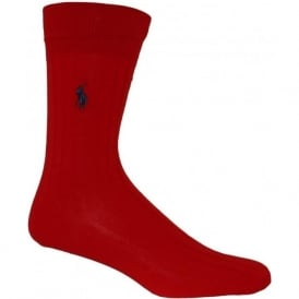 Egyptian Cotton Ribbed Socks, Indian Red