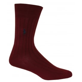 Egyptian Cotton Ribbed Socks, Maroon