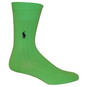 Egyptian Cotton Ribbed Socks, Mint Green