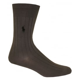 Egyptian Cotton Ribbed Socks, Pewter Grey