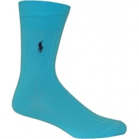 Egyptian Cotton Ribbed Socks, Turquoise Blue