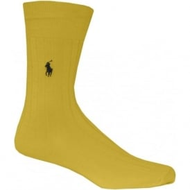 Egyptian Cotton Ribbed Socks, Yellow
