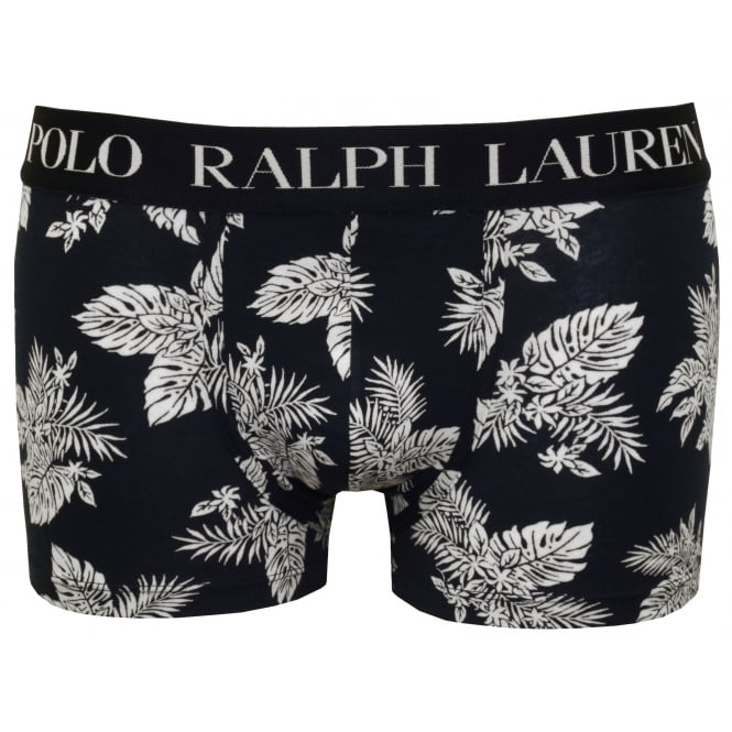Polo Ralph Lauren Floral Print Boxer Trunk, Navy with white