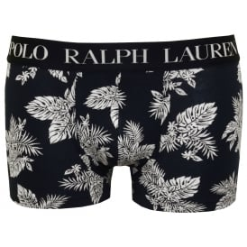 Floral Print Boxer Trunk, Navy with white