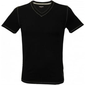Jersey Tournament V-Neck T-Shirt, Polo Black