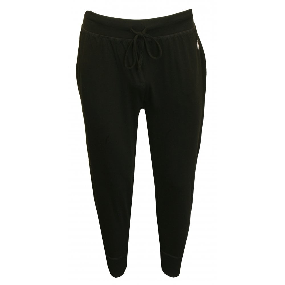 Liquid Cotton Jersey Cuffed Jogging Bottoms, Navy with white polo player f85a6f0f8918