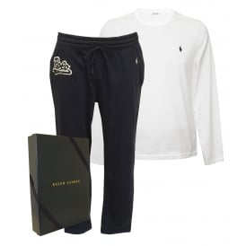 Long-Sleeve Crew & Jersey Bottoms Pyjama Gift Set, White/Navy