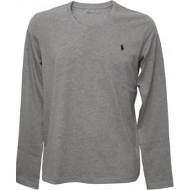 Long-Sleeve Jersey Cotton Crew-Neck T-Shirt, Grey