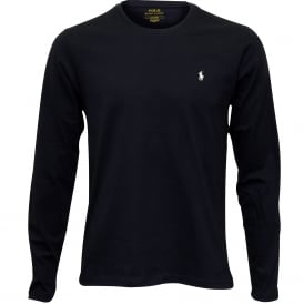 Long-Sleeve Jersey Cotton Crew-Neck T-Shirt, Navy