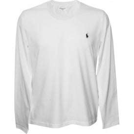 Long-Sleeve Jersey Cotton Crew-Neck T-Shirt, White