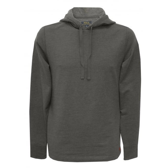 Polo Ralph Lauren Luxe Brushed Jersey Hoodie, Charcoal with Red Polo Player