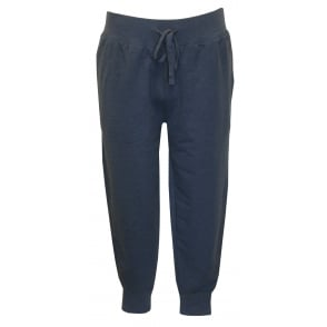 Luxe Brushed Jersey Jogging Bottoms, Derby Blue with Red Polo Player