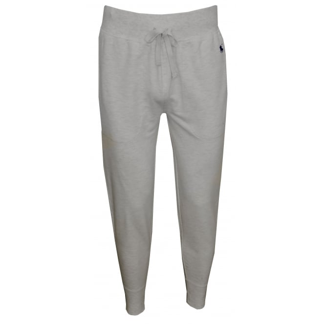 Polo Ralph Lauren Luxe Brushed Jersey Jogging Bottoms, Oatmeal Heather with navy polo player