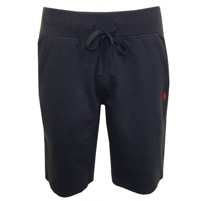 Polo Ralph Lauren Luxe Brushed Jersey Jogging Shorts, Navy with Red Polo Player