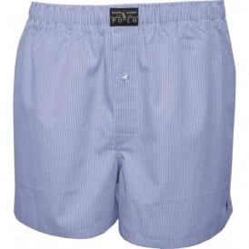 Mini Gingham Woven Boxer Shorts, Light Blue