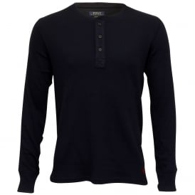 Mini Waffle Long-Sleeve Henley T-Shirt, Navy with red