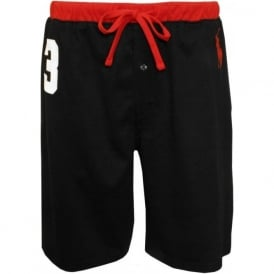 No.3 Lounge Shorts with Large Pony Player, Black