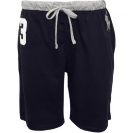 No.3 Lounge Shorts with Large Pony Player, Navy/Grey