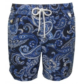 Paisley Traveller Swim Shorts, Navy/Blue