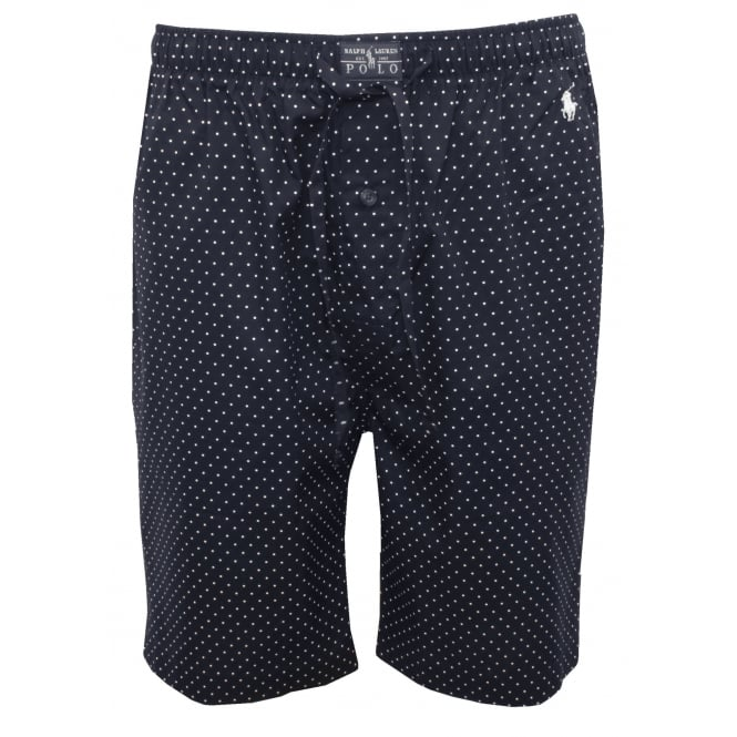 Polo Ralph Lauren Polka Dots Woven Lounge Shorts, Navy with white