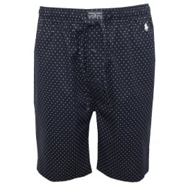 Polka Dots Woven Lounge Shorts, Navy with white