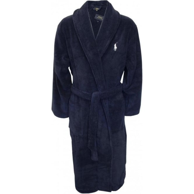 Polo Ralph Lauren Shawl Collar Bathrobe with Luxury Towelling, Navy