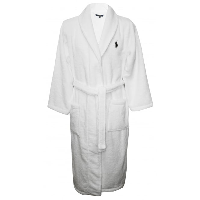 Polo Ralph Lauren Shawl Collar Bathrobe with Luxury Towelling, White
