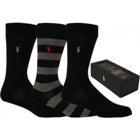 Socks 3-Pack Striped & Solid Gift-Set, Black/Grey