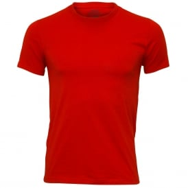 Stretch Cotton Crew-Neck T-Shirt, Red with black