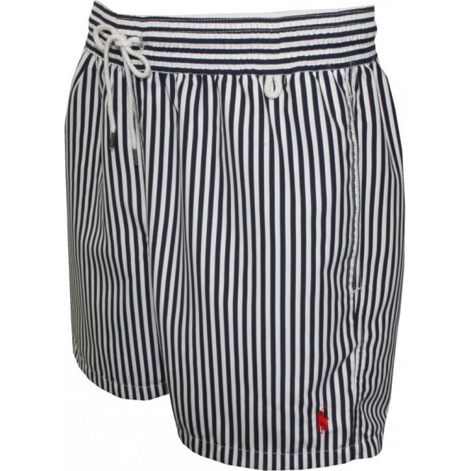 63ddabab99 Polo Ralph Lauren Stripe Swim Shorts, Navy/White | UnderU