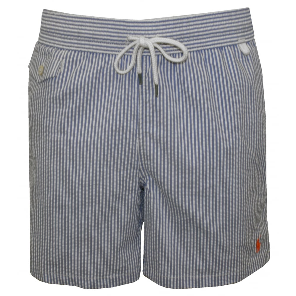 c7fae87dc4 Polo Ralph Lauren Striped Seersucker Traveller Swim Shorts, Navy ...