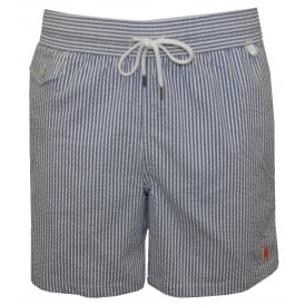 Striped Seersucker Traveller Swim Shorts, Navy/White