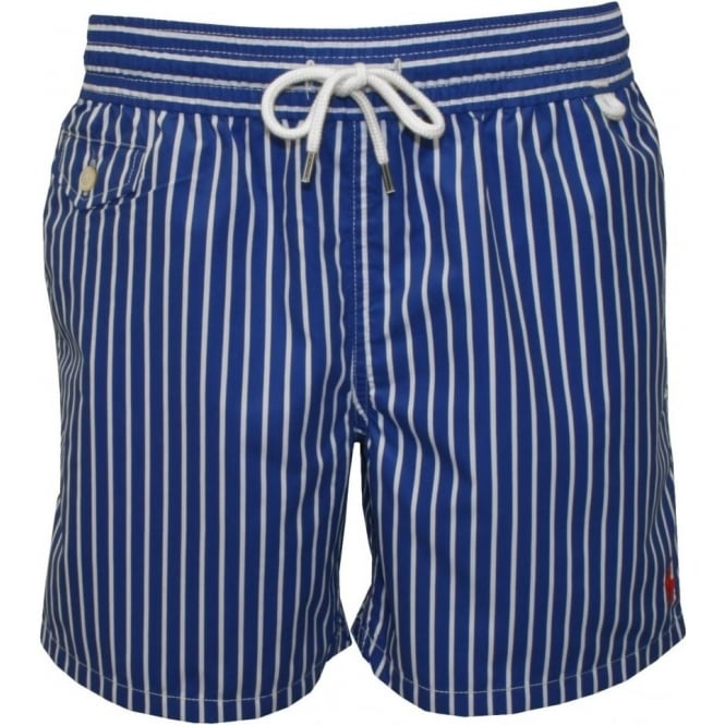 6e4d19d018 Polo Ralph Lauren Striped Traveller Swim Shorts, Blue/White | UnderU