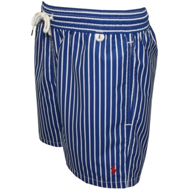 Striped Traveller Swim Shorts, Blue/White