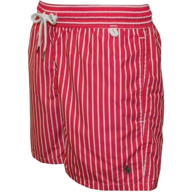 39354f6144 Polo Ralph Lauren Striped Traveller Swim Shorts, Pink/White | UnderU