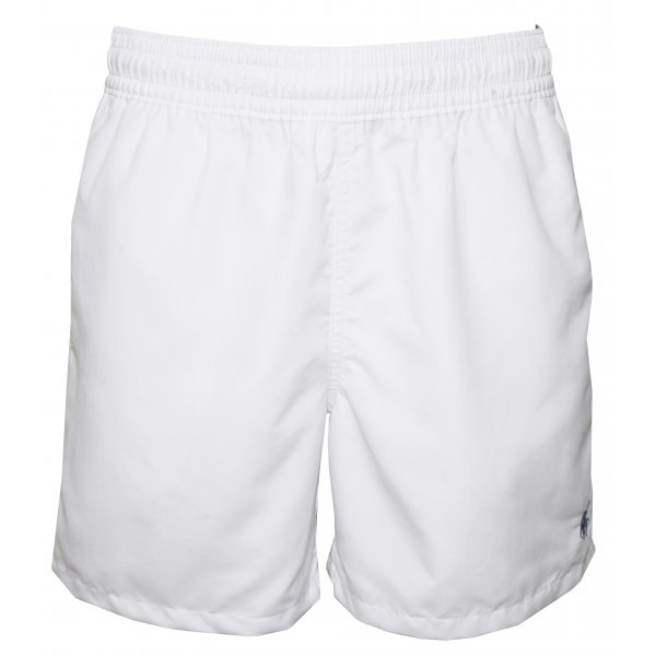 Swim Shorts in Hawaiian Design, White