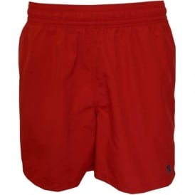 Swim Shorts in Hawaiian Style in Royal Red