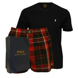 T-Shirt & Boxer Shorts Pyjama Gift Box, Black/Red