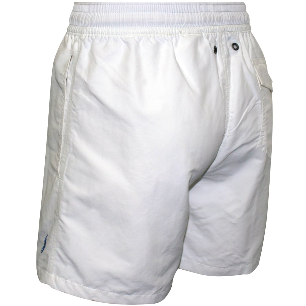 8acb5933e0 Polo Ralph Lauren Traveller Swim Shorts, Classic White | UnderU