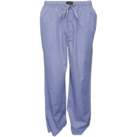 Woven Cotton Long Pyjama Bottoms, Light Blue