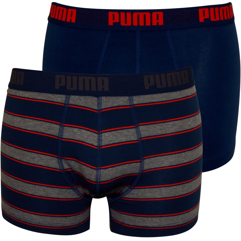 Puma 2 Pack Rugby Stripe Yarn Dyed Boxer Briefs Blue Grey Underu