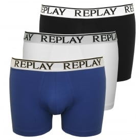 3-Pack Classic Logo Boxer Trunks, Black/White/Blue
