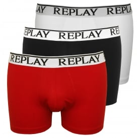 3-Pack Classic Logo Boxer Trunks, Black/White/Red